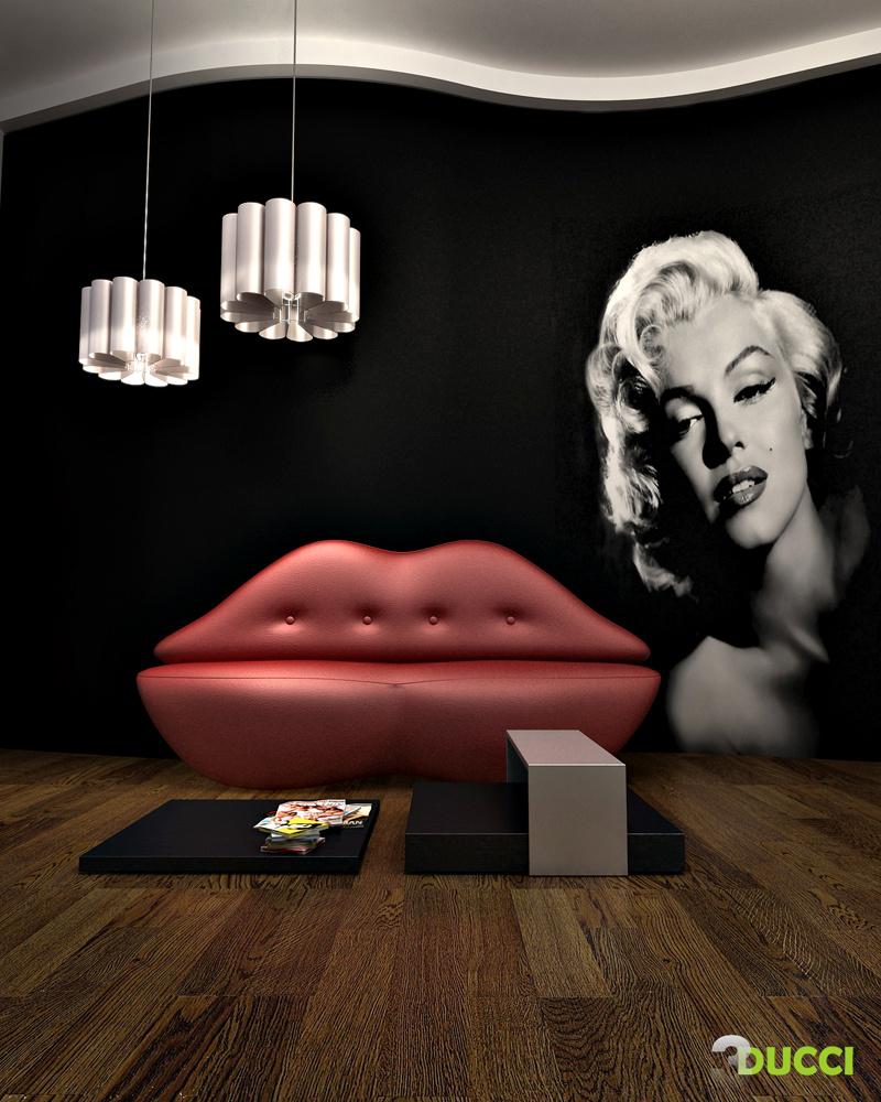 Inšpirácia: biela◦červená◦čierna◦drevo◦kov◦koža◦obývacia izba