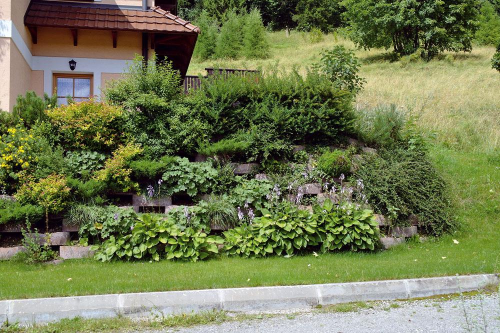 Veľmi praktickým riešením na spevnenie svahov sú betónové vegetačné tvárnice. Môžete pomocou nich prekonať aj väčšie výškové rozdiely, aak zvolíte vhodnú zeleň, čoskoro pod ňou betónový základ úplne zmizne. Na exponovanú časť, ktorá je slnečná asuchá, sa hodia rôzne druhy skalničiek, okrasných tráv atrpasličích či poliehavých drevín. Prevísajúce druhy vo vyšších polohách skombinujte spopínavkami aďalšími rastlinami, ktoré skryjú pätu múru.