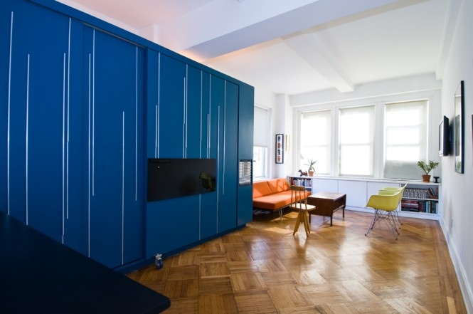 Neobyčajné zariadenie malého apartmánu v Manhattane