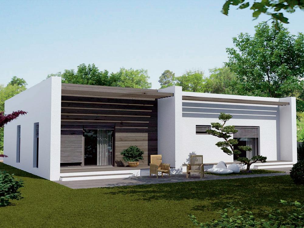 Dom od spoločnosti Ideálne bývanie vás vmontovanom variante vyjde na 123500 €, vmurovanom 103000€. Je určený pre 4 – 5 osôb ajeho celková úžitková plocha je 114 m2. Bývať môžete už približne opol roka. Projekt nájdete vpublikácii Projekty rodinných domov jar/leto 2011 znášho vydavateľstva.