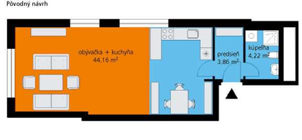 Pôvodný návrh Toto bola predstava developera o zariadení bytu. S posteľou sa tu nerátalo – mal ju zastúpiť rozkladací gauč.
