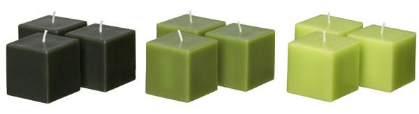 Zelené sviečky Fyrkantig vydržia horieť šesť hodín. Cena 2,99 €/9 ks.