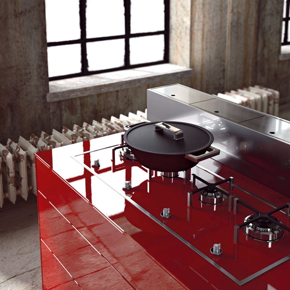 Špičkové technológie, formálna jednoduchosť, čisté apodstatné línie. Základom tejto kuchyne vnajvyššom stupni kvality je hliníkový skelet obalený rôznorodým materiálom – HPL doskami, drevolaminátovými doskami, lakovanou MDF doskou asklom, všetko vrovnakej farbe alesku.