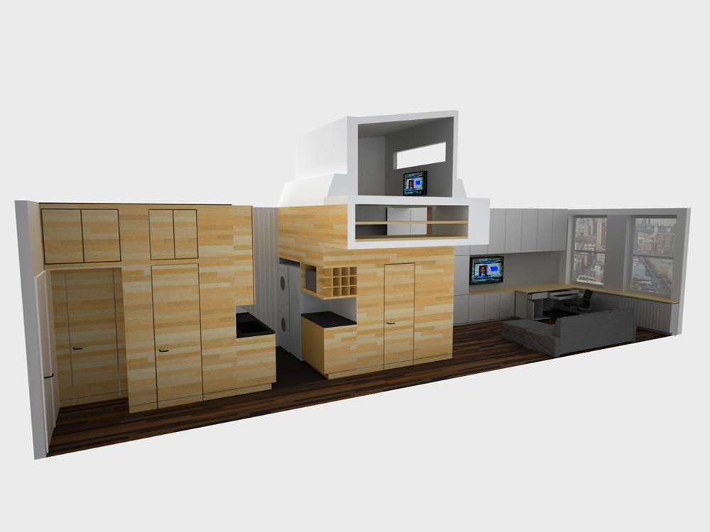 Model, z ktorého sa pri rekonštrukcii vychádzalo. Úložné systémy predeľujú byt na viaceré zóny.