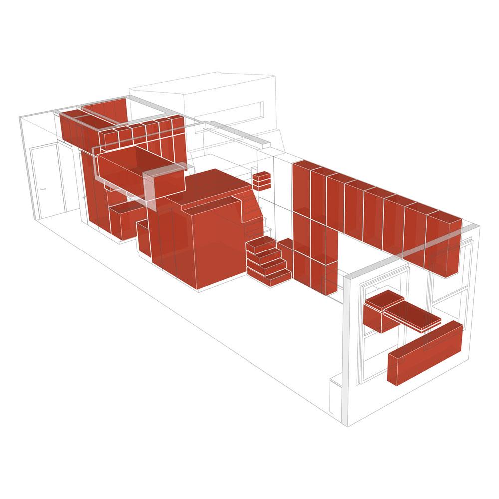 Jadrom bytu je integrovaný komplex úložných priestorov z teakového dreva.
