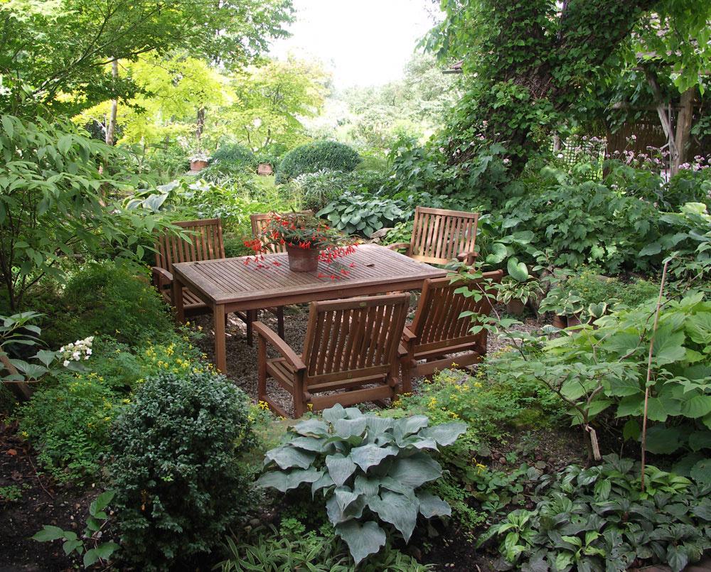 Tienisté partie pod stromami môžeme presvetliť nielen zvolenými rastlinami. Stačí priestor otvoriť, vyčistiť, zľahka spevniť aumiestniť sem nejaký svetlý prvok – napríklad plastiku, lavičku či iný záhradný nábytok vo svetlých farbách.
