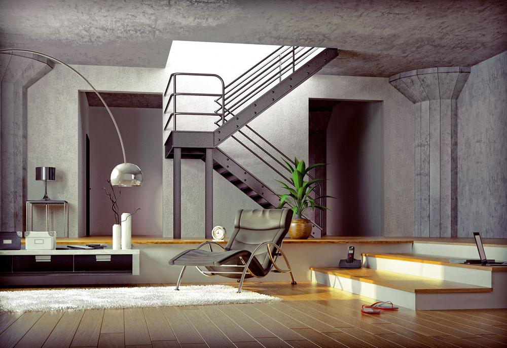 Oceľové schodisko so svojím strohým industriálnym štýlom vytvorí neopakovateľnú atmosféru bývania najmä vloftoch.