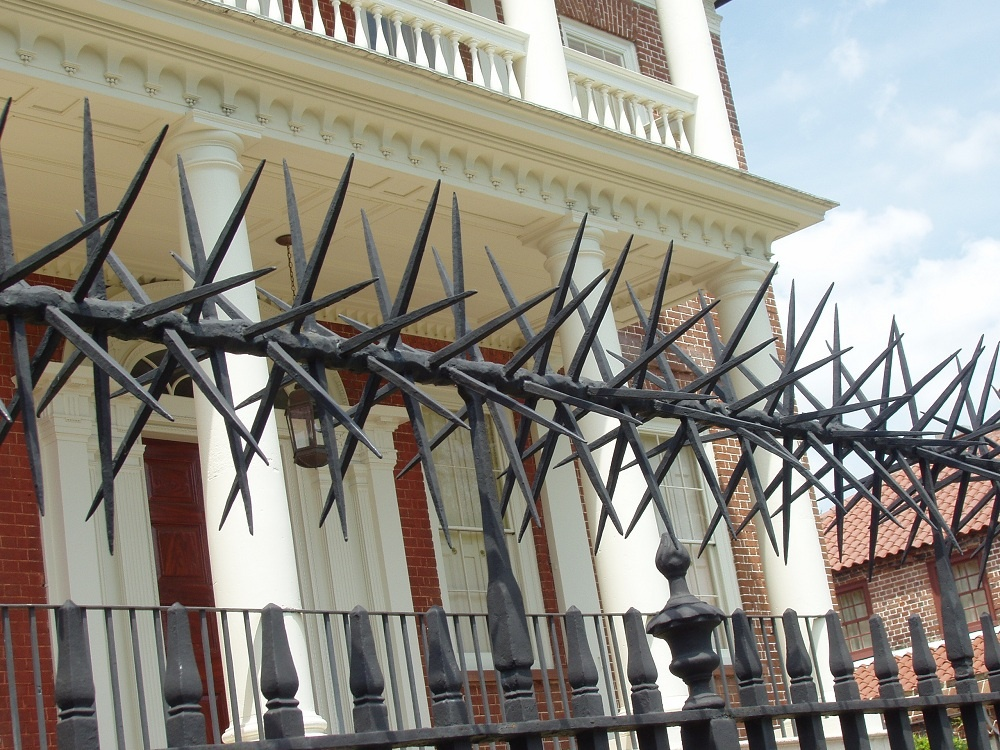Nasaďte plotu tŕňovú korunu. Tento typ oplotenia je určený pre domácich väzňov. Nielenže sa nik bez povolenia nedostane dnu, ale rovnako sa bez súhlasu nedostane ani von. Preskočiť plot? Bolestivé riešenie.