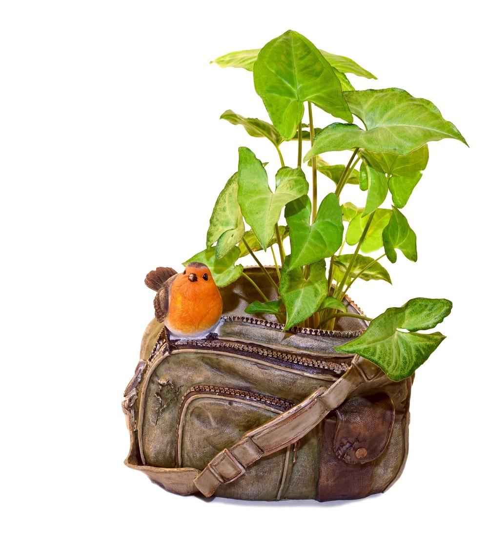 Saky paky... Nielen na taške, ale aj priamo v nej. Do starej kapsy sa vojde akákoľvek rastlina. Vďaka ramienku sa dá povesiť a vďaka pevnému dnu aj postaviť na ľubovoľné miesto. Nemusíte ju skrývať pred nepriazňou počasia. Ošúchaný a špinavý vzhľad je tentoraz vítaný.