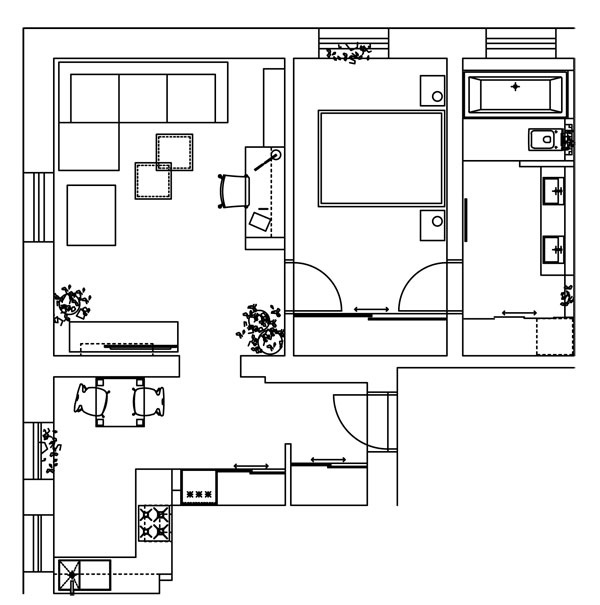 """Pôdorys: Zdlhých aúzkych miestností (spálne akúpeľne) ukrojila architektka 70 cm na úložné priestory: """"Prospelo to miestnostiam aj ľuďom,"""" hovorí. Dvere medzi obývačkou aspálňou sa zo stredu priečky posúvali tak, aby sa za ne vspálni zmestila skriňa sideálnou hĺbkou."""