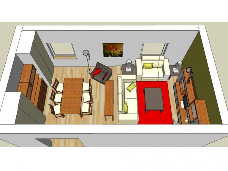 Ako umiestniť jedálenskú a obývaciu časť do jednej izby