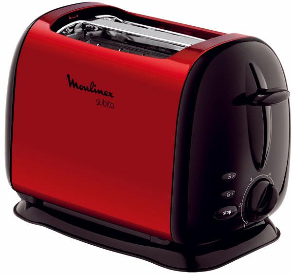 Hriankovač Moulinex Subito LT120530 s povrchom z lakovaného antikora. Rozmrazuje a opeká. Funkcie: stop na prerušenie opekania, Hi-Lift na ľahšie vybratie malých toastov, elektronická kontrolka opekania, 6 stupňov nastavenia, príkon 1 000 W. Cena 39,90 €.