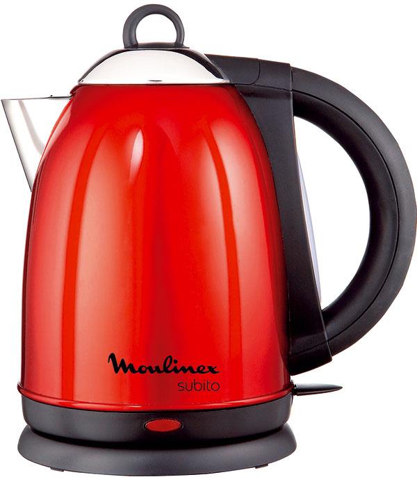 Varná kanvica Moulinex Subito Red BY510530 s červeným antikorovým telom. Príkon 2 200 W, objem 1,7 l. Cena 49,90 €.