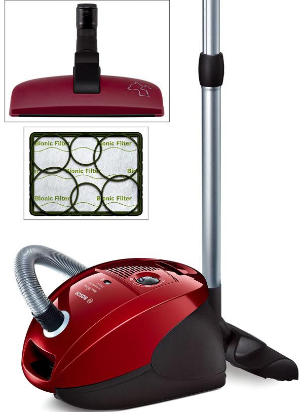 Podlahový vysávač Bosch BSGL 32125 ProAnimalHair so špeciálnou hubicou na vysávanie zvieracích chlpov zkobercov ačalúnenia svýkonom 300 –  2 100 W. Akčný rádius 10 metrov, hygienický filtračný systém Air Clean HEPA aBionic filter, ktorý prirodzenou cestou odstraňuje zápach. Odporúčaná cena 159 €.