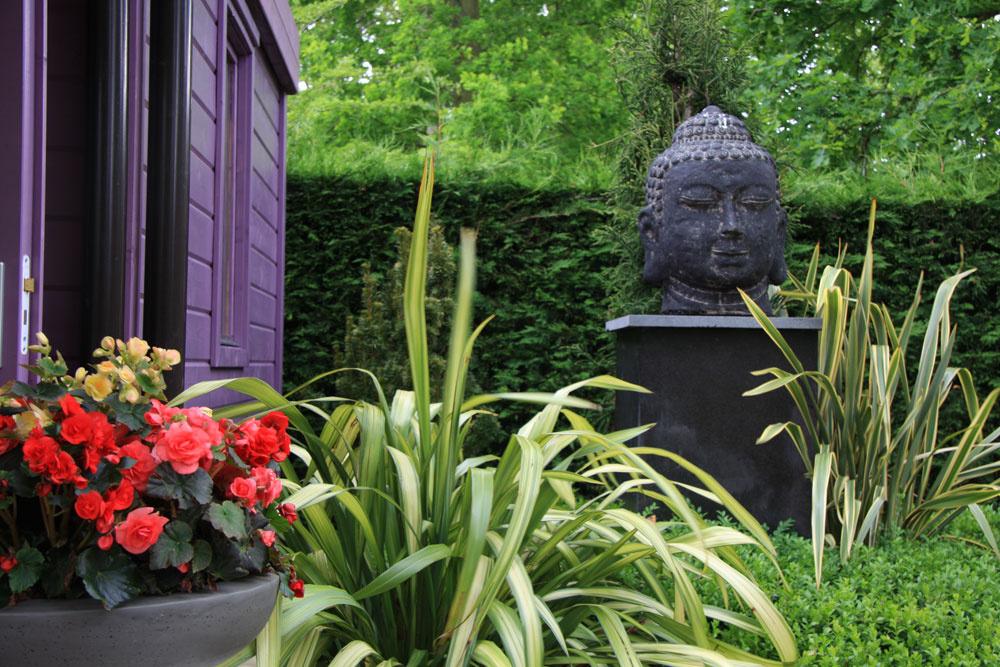 Mohutná plastika Budhu, kryptoméria japonská aľanovník novozélandský našli chránené miesto pri záhradnom domčeku.