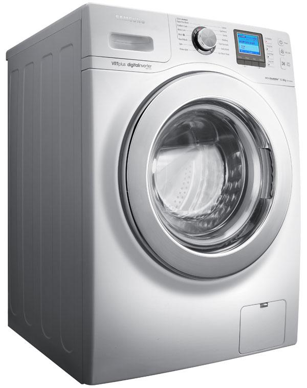 Práčka Samsung WF1124XAC skapacitou 12 kg. Energetická trieda  A+++, účinnosť prania aodstreďovania A, odstreďovanie 1 400 ot./min., spotreba vody 78 l, energie 1,32 kWh, systém aktívnej peny EcoBubble (úsporné pranie), invertorový motor – predĺžená životnosť, zníženie hluku aspotreby energie. VRT – unikátny systém na zníženie vibrácií, diamantový bubon, keramické výhrevné teleso, Fuzzy Logic, funkcia MyCycle – nastavenie obľúbeného pracieho cyklu, Program na hygienické ošetrenie bubna, systém sochranou proti pokrčeniu, LCD displej, Jog dial ovládač, detská poistka, samočistiaci filter, autodiagnostický systém hlásenia porúch. Odporúčaná cena 1 199 €.
