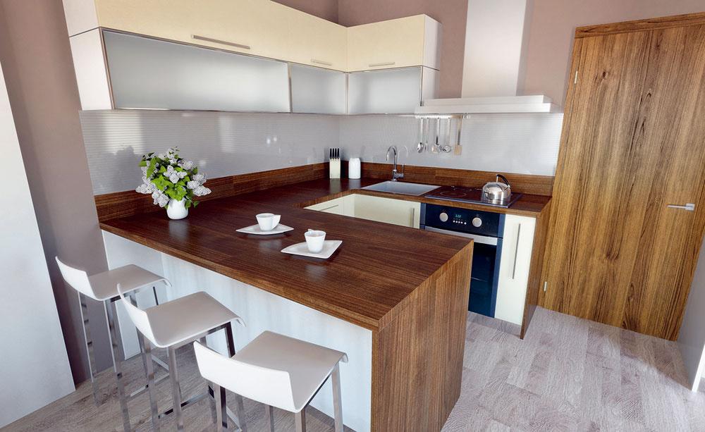 Votvorenom priestore môžete rozšíriť pracovnú plochu kuchynskej linky oplochu na stolovanie. Pridajte knej barové stoličky ainak malú kuchyňu premeníte na veľkorysú – aj skomfortným stolovaním.