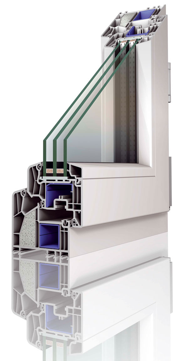 Okno Thermo 90 vtriede Avklasickom bielom vyhotovení. Vďaka šesťkomorovému profilovému systém VEKA so šírkou 90 mm apoužitiu termickej vložky okno dosahuje veľmi nízke hodnoty (Uw