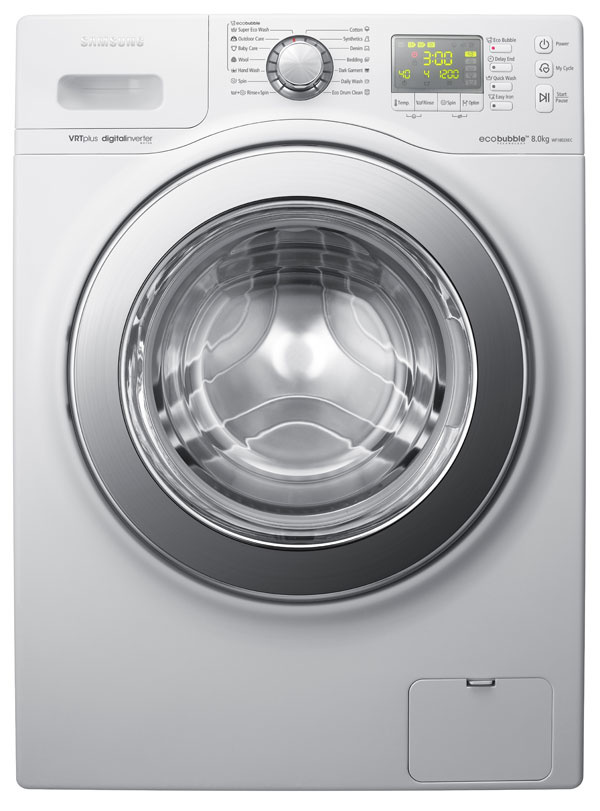 Práčka Samsung WF1802XEC venergetickej triede A+++, kapacita 8 kg, 1 200ot./min., spotreba: vody 49 l, el. energie 1,2kWh, EcoBubble – systém aktívnej peny. Invertorový motor, VRT Plus – technológia zníženia vibrácií, diamantový bubon, keramické výhrevné teleso, technológia Fuzzy Logic, špeciálne programy, hygienické ošetrenie bubna, funkcia MyCycle, systém sochranou proti pokrčeniu, matricový LED displej, samočistiaci filter, autodiagnostický systém hlásenia porúch. 10-ročná záruka. Odporúčaná cena 799 €.