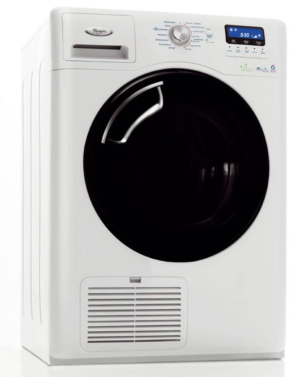Sušičku Whirlpool AZA HP 9781 6.ZmyselTM AirCare stechnológiou Wave Motion (asymetrické otáčanie bubna) astepelným čerpadlom. Nový spôsob sušenia pri nižšej teplote, ktorú vytvára tepelné čerpadlo, výrazne znižuje spotrebu energie. Energetická trieda A–50 % pri kapacite 9 kg. Vďaka programu Soft Finish vysuší aj veľmi citlivé vlnené tkaniny. Objemný bubon na veľké kusy bielizne (vankúše, paplóny). Cena 949 €.
