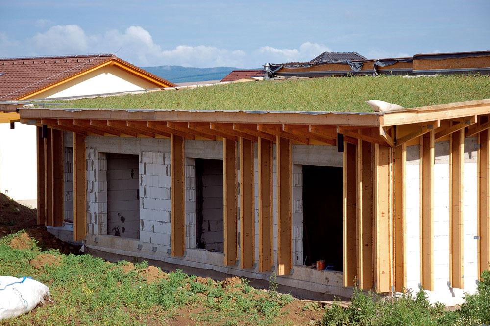 Pasívny dom vSenici sa môže popýšiť peknou zelenou strechou. Je to možno oniečo drahší typ zastrešenia, ale vporovnaní sinými strešnými krytinami má nepopierateľné technické, ekologické aestetické prednosti.