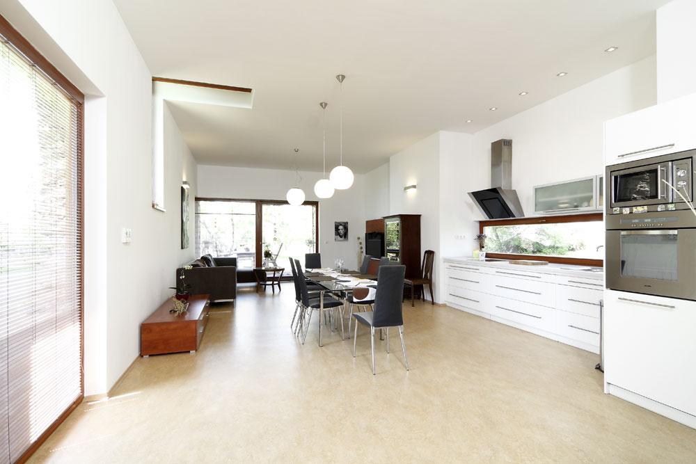 Prízemie objektu tvorí otvorený priestor, ktorý plynulo mení svoju funkciu od haly, cez kuchyňu ajedáleň až po obývaciu izbu otvorenú cez veľké posuvné dvere na terasu.