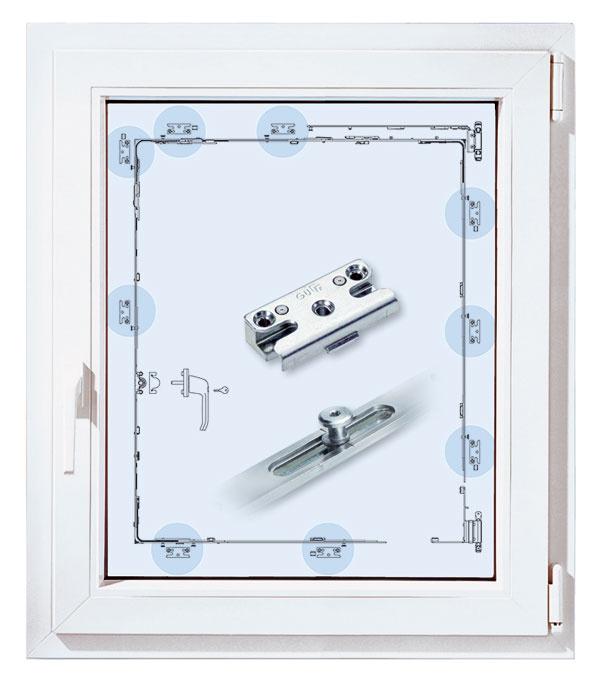 Bezpečnostné okno pozostáva zbezpečnostného kovania, uzamykateľnej kľučky abezpečnostného zasklenia. Podobne ako pri dverách aj tu sa treba orientovať podľa bezpečnostných tried.