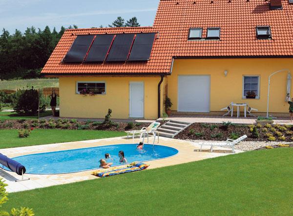 Solárny ohrev je dnes vďaka cenovej dostupnosti (panel na ohrev vody vbazéne kúpite už od 300 €) zaujímavou alternatívou na ohrev vody vbazéne. Nevýhodou je zložitejšia inštalácia azávislosť na slnečnom žiarení.