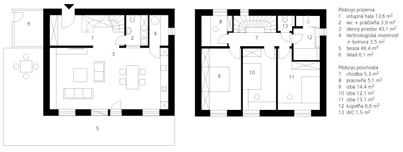 Pôdorys prízemia 1vstupná hala 13,6 m2 2wc + práčovňa 3,9 m2 3denný priestor 43,1 m2 4technologická miestnosť +komora3,5 m2 5terasa 46,4 m2 6sklad 6,1 m2  Pôdorys poschodia 7chodba 5,3 m2 8pracovňa 5,1 m2 9izba 14,4 m2 10izba 12,1 m2 11izba 13,1 m2 12kúpeľňa 6,6 m2 13WC 1,5 m2