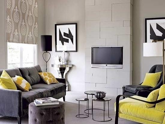 Inšpirácia: obývacia izba◦sivá◦textil◦žltá