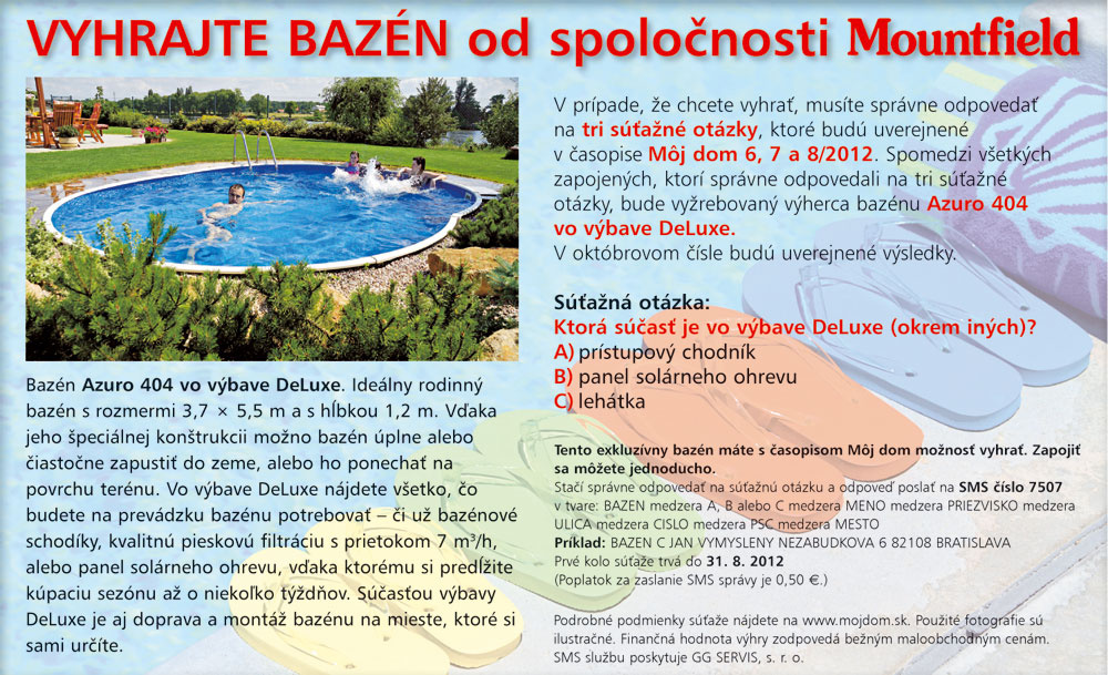 Vyhrajte bazén od spoločnosti Mountfield