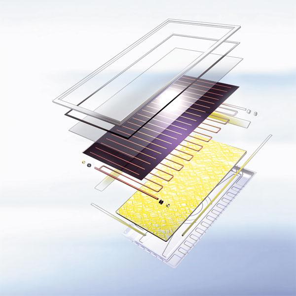 Súčasťou kvalitných plochých solárnych kolektorov je 3,2 mm hrubé bezpečnostné sklo, ktoré dokáže udržať viac ako 120-kilogramovú záťaž. Odolá tak aj nepriaznivým poveternostným podmienkam. Sklo plochého solárneho kolektora je matné, aby sa na maximálnu úroveň zvýšila efektivita premeny slnečnej energie na teplo. Ploché kolektory preukazujú vpraxi vynikajúci pomer ceny azisku tepla, pritom majú najlepšiu účinnosť počas teplejších slnečných dní. Využívajú sa predovšetkým na ohrev vody.