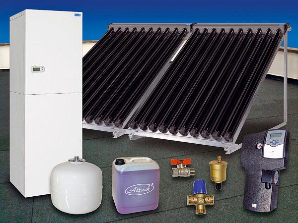 Vákuové trubicové slnečné kolektory ATTACK s10 trubicami využívajú ako tepelnú izoláciu vákuum, vytvorené medzi dvoma sklenenými trubicami. Na vnútornej trubici je nanesená vysokoselektívna absorbčná vrstva. Získané teplo sa odvádza špeciálnymi hliníkovými lamelami do medených trubičiek, vktorých prúdi ohrievaná kvapalina. Tepelné straty sú vďaka tomu veľmi malé akolektory môžu získavať teplo aj pri veľmi slabom slnečnom žiarení (slnko za mrakom – difúzne žiarenie) alebo pri extrémne nízkych teplotách (nízka teplota vzduchu avysoká teplota ohriatej kvapaliny).