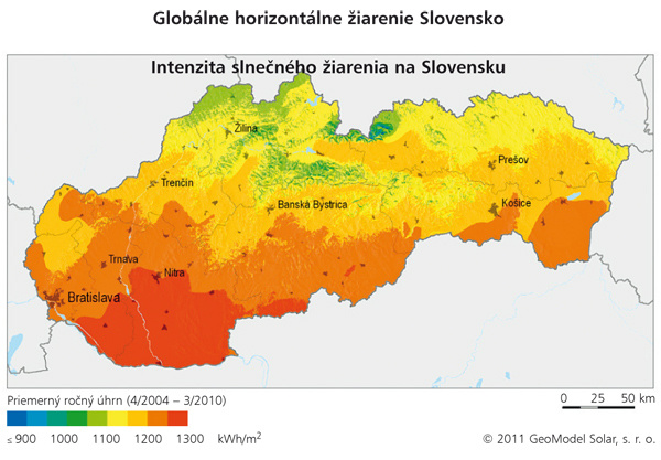 Medzi jednotlivými regiónmi Slovenska nie je vintenzite slnečného žiarenia veľký rozdiel arozdiel medzi najteplejším anajchladnejším regiónom je len okolo 15 %. Dôležité je teda najmä umiestnenie kolektorov na vhodnom, južne orientovanom slnečnom mieste, anie to, vakom regióne Slovenska bývate.