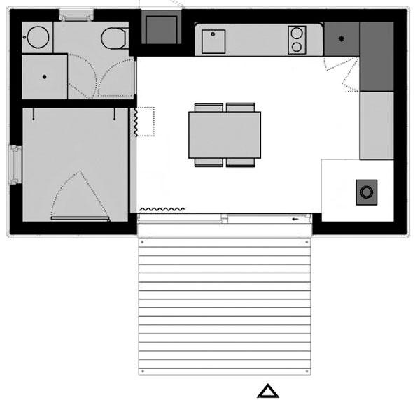 Menší typ domu je určený jednému alebo dvojici. Rovnako ako väčší typ je široký 4 metre, na dĺžku má však len 7 metrov. Obytná miestnosť má 23 m2, terasa je rovnaká ako pri väčšom type.