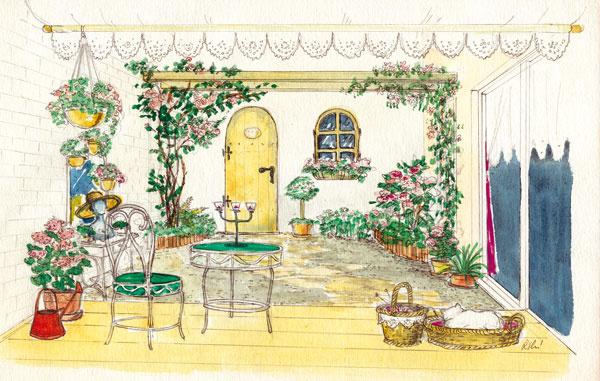 Nostalgická záhrada  Niečo pre romantické duše – babičkina záhrada voňajúca čarom starých časov. Vzadu na stene sú tajomné dvere aokno (oboje, samozrejme, falošné), ktoré môžu donekonečna podnecovať fantáziu. Čo ak sa predsa len raz budú dať otvoriť abudete môcť nimi prejsť do neznámej krajiny, kde nájdete svoju babičku sjej vanilkovými rožtekmi asladučkým domácim ríbezľovým vínom? Vromantickej záhrade je všetko možné. Iným variantom je zrkadlová výplň – keď dvere otvoríte, môžete meditovať pri vlastnom odraze vštýle sebaprijatia (to sa dnes tiež nosí).  Nostalgickú atmosféru dotvárajú doplnky, nábytok a, ako inak, výsadba – popínavé ruže vjednom rohu adrobnokvetý plamienok shortenziami, muškátmi afuksiami vdruhom, všetky vružových abielych farebných odtieňoch. Mačka vprútenom košíku síce môže byť jedna ztakmer dokonalých chlpatých imitácií, živá však bude určite lepšia.