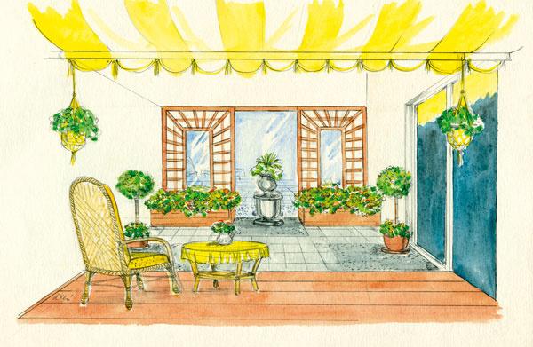 Jednoduchá konzervatívnosť  Ide ozáhradku, vktorej podložie neumožňuje priamu výsadbu rastlín do pôdy (napríklad nad pivnicou či na streche domu). Vpredu po celej šírke átria sa rozkladá drevená terasa skrytým sedením (tu poslúžil nízky rotangový nábytok); terasa prirodzene nadväzuje na kuchyňu. Stred átria je voľný – umožňuje pohyb. Jeho povrch je spevnený klasickou dlažbou štvorcového formátu, ktorá sa strieda splochami vysypanými drobnými okruhliakmi vpodobných nenápadných sivých či okrových farebných odtieňoch. Vzadu na čelnej pohľadovej stene sú dve drevené treláže so zrkadlovou výplňou uprostred, ktoré opticky zväčšujú priestor. Veľké zrkadlo sa nachádza aj medzi trelážami – slúži ako pozadie pre dominantný objekt – vtomto prípade zaujímavo vysadenú nádobu (ale rovnako dobre poslúži napríklad aj socha). Všetky rastliny sú vysadené vo vegetačných nádobách – vzadu pred trelážami sú dva masívne drevené hrantíky, oniečo bližšie dva veľké kvetináče, na konštrukcii markízy nad
