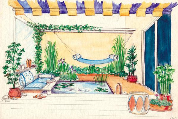 Vodná záhrada  Vtejto záhrade je dominantným prvkom pravidelná vodná nádrž (nepravidelné prírodné jazierko by sa do takéhoto malého priestoru nehodilo), nad ktorú čiastočne presahuje drevená plošina. Aby sa voda rýchlo nekazila, vnádrži je malá dýza, ktorá čerí vodnú hladinu nízkym bublajúcim pramienkom. Vo vode môžu byť aj drobné vodné rastliny, treba však zaistiť ich zazimovanie. Spodná časť steny za ležadlom vľavo je obložená drevom (ponúka možnosť oprieť sa). Nad plytkou policou, ktorú možno využiť napríklad na odkladanie drobností, je veľké zrkadlo, jeho úlohou je opticky zväčšiť malý priestor átria. Vzadnej časti záhrady sú drevené trámy, na ktorých okrem popínavých rastlín môže byť zavesená hojdacia sieť. Úzky záhon strávami, kosatcami aďalšími rastlinami svojím charakterom korešponduje svodnou plochou. Ďalšie výsadby sú vterakotových kvetináčoch, ide prevažne oizbové rastliny, ktoré sem možno premiestniť počas letnej sezóny. Terakota sa uplatnila aj pri keramickej dla