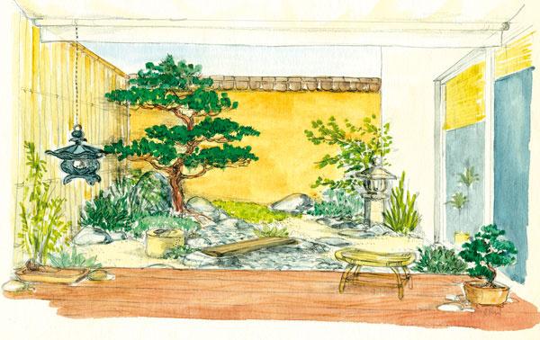 """Japonská záhrada  Aj milovníci japonských záhrad si môžu prísť na svoje vmalom átriu – môžu sa tu totiž vyhrať sdetailmi, ato bez veľkej námahy spojenej súdržbou takejto záhrady –napríklad tvarovať stromčeky akry, symbolicky rozmiestniť kamene či rosiť machy.  Vpredu na obrázku je terasa, na ktorej si môžete vychutnávať relaxačný čaj. Dominantná je tvarovaná borovica vzadu vrohu, od ktorej vedie naprieč átriom symbolický kamenný potok. Vopačnom smere krížom sa vinie cestička vytvorená zplochých kameňov, na ktorých leží drevená lávka (cez potok) avedie ku kamennému lampášu. Dva náprotivné kúty mimo zelený """"prameň"""" potoka sú vysypané pieskom. Ľavý múr maskuje bambusový plot, vpravo sním korešpondujú trstinové žalúzie na oknách. Na opačnom konci potoka na terase je bonsaj (borovica)."""