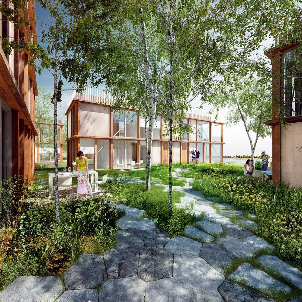 VDanubia parku pri Bratislave by malo vyrásť 33 bytových domov, ktoré poskytnú kvalitné bývanie vkontakte svodnou hladinou alužným lesom vokolí Dunaja. Vmedzinárodnej architektonicko-urbanistickej súťaži zvíťazila česká architektonická kancelária Chybík + Krištof associated architects. Nenavrhli sústavu anonymných bytov, ale vilové domy tvorené sústavou štyroch navzájom kolmých hmôt, ktoré vymedzujú poloverejné átrium. Pozícia týchto dvoj- až trojpodlažných objektov zároveň umožňuje priamy výhľad na vodnú hladinu zkaždého bytu. Centrálny priestor domu – vonkajšie átrium je akousi urbánnou záhradou, ktorú spoločne využíva niekoľko rodín. Vytvára priestor na spoločenský život amá tiež funkciu prírodnej klimatizácie – vlete spríjemňuje mikroklímu bytov. Na átrium nadväzuje mólo, ktoré umožňuje priamy kontakt obyvateľov viladomu svodou. Každý apartmán má vonkajšiu terasu – zasklené steny možno vlete celkom otvoriť, takže zobývačky sa stane veľkorysá sezónna lodžia.