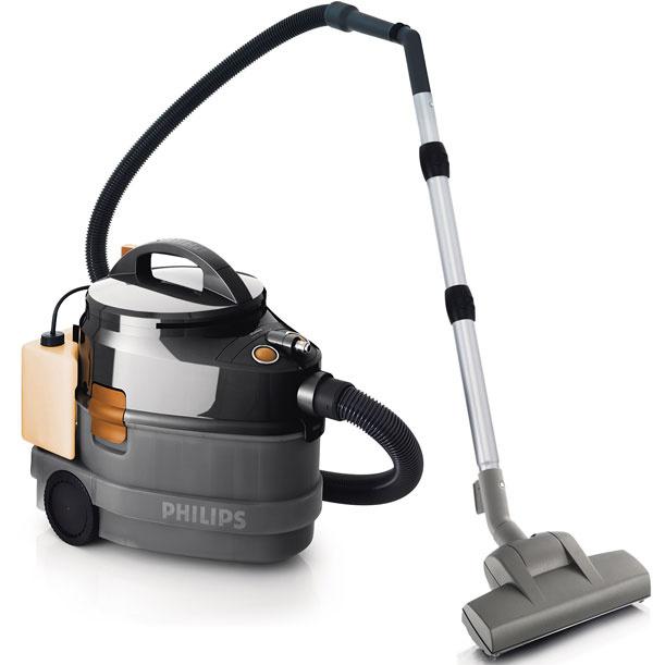 Multifunkčný vysávač Philips Triathlon FC6844 zvláda mokré asuché čistenie, aj šampónovanie, čo vrodine skopou detí určite využijete. Môžete vysávať suchý prach ašpinu, mokré rozliate kvapaliny adokonca aj oživiť farbu kobercov. 1 500 W motor generujúci sací výkon max. 300 W, nadstavec skefou na mokré čistenie kefuje, čistí auchováva podlahu suchú abezpečnú, predĺži životnosť koberca, pomocou šampónu čistí koberec do hĺbky, ergonomická trojitá teleskopická trubica, turbokefa odstraňuje o25 % viac vlasov aprachu. Odporúčaná cena 289,99 €.