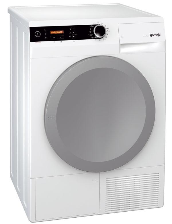 Veľký objem bubna kondenzačnej sušičky Gorenje D 9864 E (120 l) pojme až 9kg bielizne. Dvierka je možné otvoriť vuhle 180˚, otvor dvierok 35 cm, LED osvetlenie bubna – jednoduché plnenie avyprázdňovanie. Senzorom kontroluje úroveň vody nazhromaždenej vnádobe na kondenzát, ktorú môžete prostredníctvom rúrky AutoDrain napojiť na odpad. Program SteamTech za 20minút vysuší napríklad košele apomocou pary odstráni pokrčenie. Energetická trieda A–40 %. Cena 959 €.