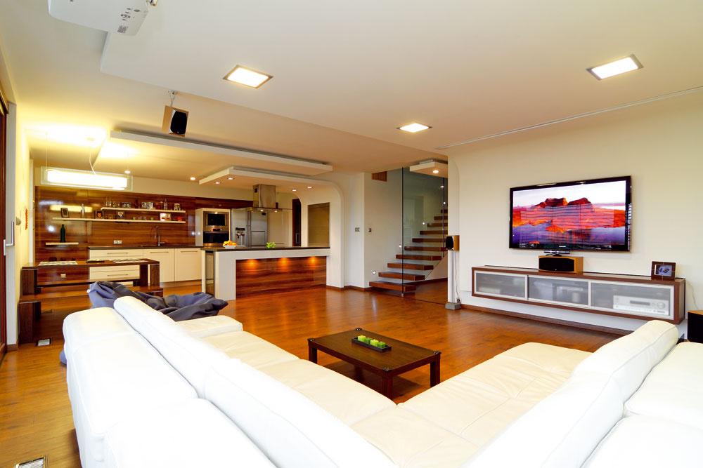 Sadrokartónový podhľad vobývačke ukrýva zabudované veľkorozmerné projekčné plátno, ktoré využíva najmä domáci pán skamarátmi na konzolové hokejové zápasy.