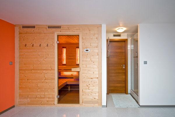 V relaxačnej časti domu je sauna.
