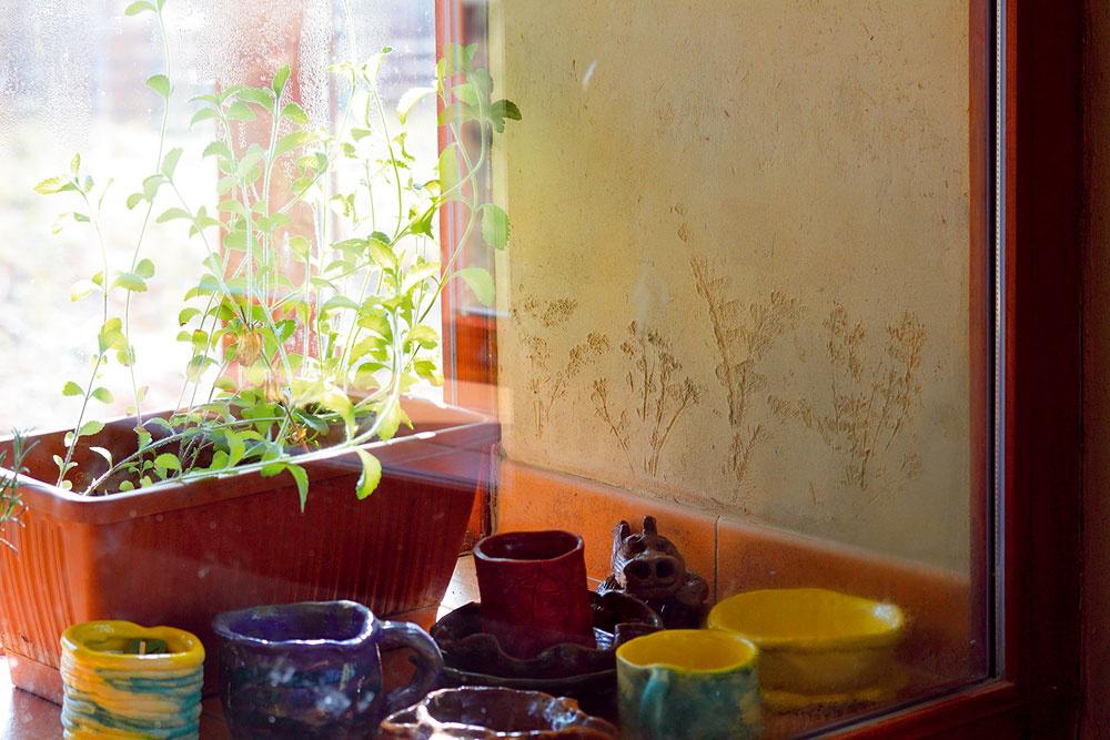 Do hlinených omietok pridali rôzne byliny, napríklad dlhé vlákna kostravy či semená tráv, ktoré dodali hline zaujímavú štruktúru, inde zase do omietky odtlačili rôzne listy asteblá.