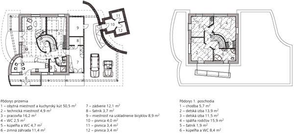 Pôdorys 1. poschodia 1 chodba 5,7 m2 2 detská izba 13,9 m2 3 detská izba 11,5 m2 4 spálňa rodičov 15,9 m2 5 šatník 1,9 m2 6 kúpeľňa aWC 8,4 m2  Pôdorys prízemia 1 obytná miestnosť akuchynský kút 50,5 m2 2 technická miestnosť 4,9 m2 3 pracovňa 16,2 m2 4 WC 2,5 m2 5 kúpeľňa aWC 4,7 m2 6 zimná záhrada 11,4 m2  7 zádverie 12,1 m2 8 šatník 3,7 m2 9 miestnosť na uskladnenie bicyklov 8,9 m2 10 pivnica 4,0 m2 11 pivnica 3,4 m2 12 pivnica 3,4 m2