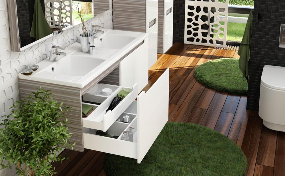 Dvojumývadlo Classic 1300 vo veľkosti 130 × 49 × 17 cm, najmä pre väčšie kúpeľne. Dizajn štúdio Nosal. Vyvážený pomer veľkosti umývacieho priestoru aodkladacích plôch. Možno ho upevniť na stenu buď samostatne, alebo vkombinácii so skrinkou, ktorej hlavnou výhodou je jej praktické vnútorné usporiadanie. Cena 414 €. Predáva Ravak.
