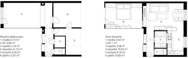 Pôvodný pôdorys bytu 1 chodba 5,15 m2 2 WC 0,86 m2 3 kúpeľňa 2,18 m2 4 obývačka 21,73 m2 5 kuchyňa 9,28 m2 6 spálňa 12,67 m2   Nová dispozícia 1 chodba 4,54 m2 2 WC 1 m2 3 kúpeľňa 3,58 m2 4 obývačka 19,45 m2 5 kuchyňa 8,18 m2 6 spálňa 16,83 m2