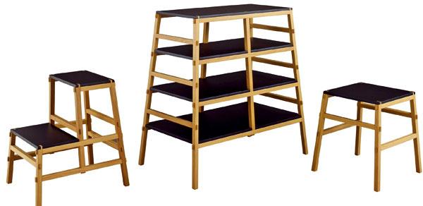 Mortaise kolekcia dokonale zapadá do dlhej tradície japonského nábytku – vysoko funkčný, mobilný, ľahký avzdušný nábytok. Kolekcia sa skladá zregálu, príležitostného stola anočného stolíka. Cena: od 496 €. Predáva: Ligne Roset.
