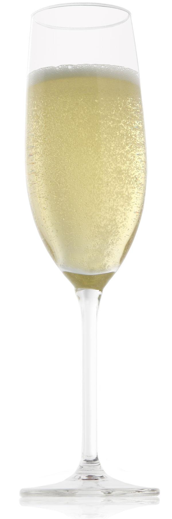 """3. Šumivé víno, prípadne šampanské patrí do vysokého pohára aj z praktických dôvodov. Jemné bublinky dlhšie vydržia a """"uzamknú"""" chuť na dlhší čas. Navyše, vyzerá zo všetkých najelegantnejšie. Pohár na šumivé víno IIC, set 2 ks, cena od 10,00 €"""